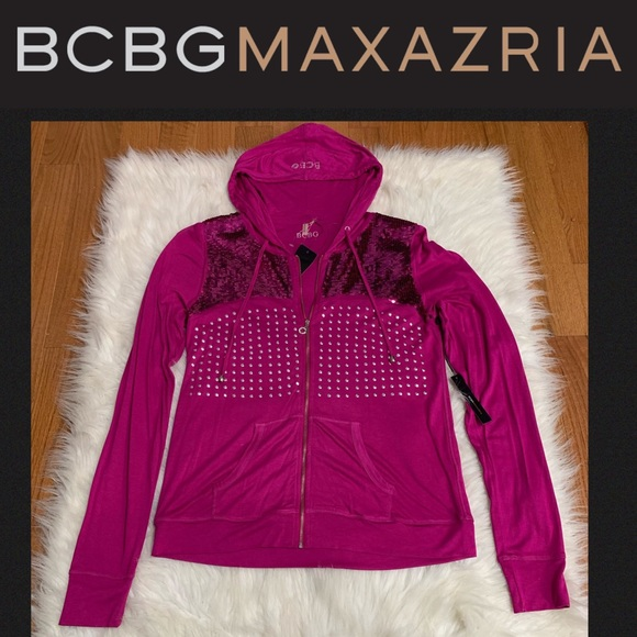 BCBGMaxAzria Tops - NWT BCBGMaxazria Punch Embellished Zip-up Jacket L